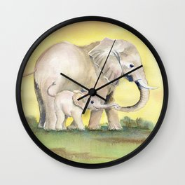 Colorful Mom and Baby Elephant 2 Wall Clock