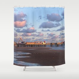 Blackpool Central Pier Sunset Shower Curtain