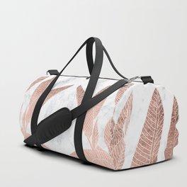 Modern faux Rose gold leaf tropical white marble illustration Duffle Bag