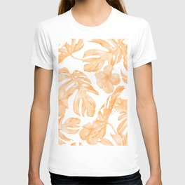Island Vacation Hibiscus Palm Leaf Coral Orange T-shirt