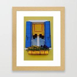 Blue & Yellow Burano Window Framed Art Print