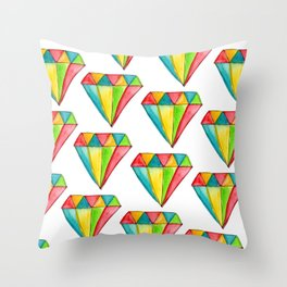 You Are Shining diamond illustration geometric pattern watercolor drawing nursery minimalism Throw Pillow