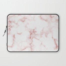 Pink Rose Gold Marble Natural Stone Gold Metallic Veining White Quartz Laptop Sleeve