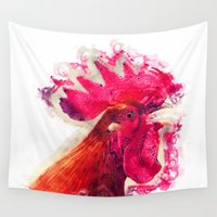 rooster Wall Tapestries featuring Rooster by jbjart