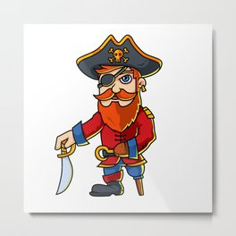 Pirate Cartoon Character Metal Print