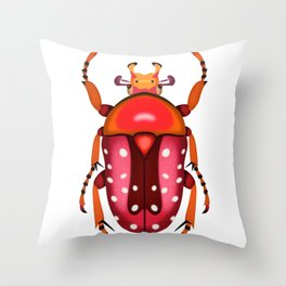 Orange and Red Beetle Throw Pillow