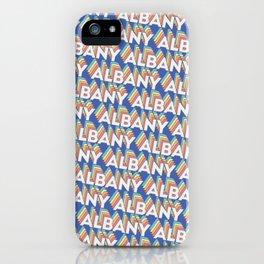 Albany, New York Trendy Rainbow Text Pattern (Blue) iPhone Case