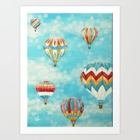 hot air balloons Art Prints featuring Hot Air Balloons 1 by Music of the Heart