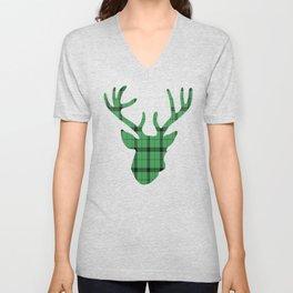 Plaid Deer Head: Green Unisex V-Neck