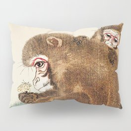 Two monkeys and butterfly - Vintage Japanese Woodblock Print Art  Pillow Sham