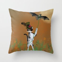 Cat Walking His Bat Throw Pillow