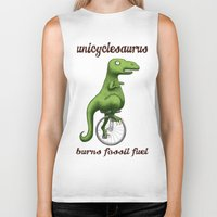 pocket fuel Biker Tanks featuring Unicyclesaurus: Burning Fossil Fuel by Nomadic Concepts/Julia Shahin Collard