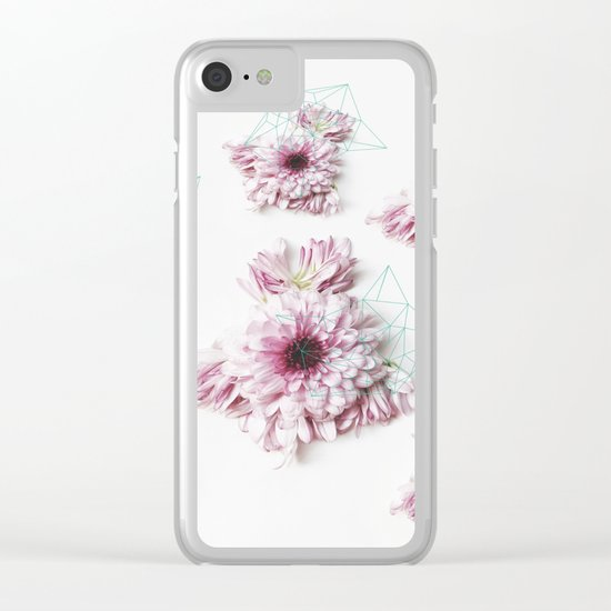 Geometry pastel flowers Clear iPhone Case