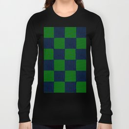 Vibrant green and dark blue checks soft pastel Long Sleeve T-shirt