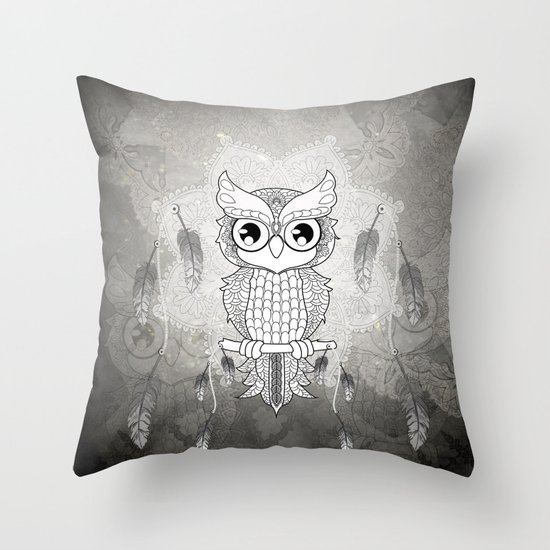 Cute Throw Pillow Society6 : Cute owl in black and white Throw Pillow by Nicky2342 Society6