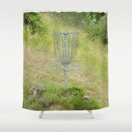 Chains of A Disc Golf Basket Shower Curtain