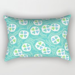 Aqua and Green Abstract Pond Rectangular Pillow