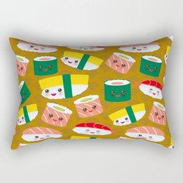 pattern Kawaii funny sushi set with pink cheeks and big eyes, emoji on brown mustard background Rectangular Pillow