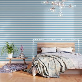 Light cornflower blue - solid color - white stripes pattern Wallpaper