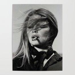 Brigitte Bardot Smoking a Cigarette, Black and White Photograph Poster
