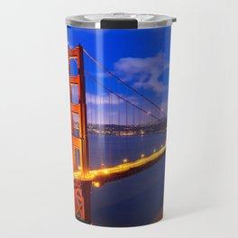 World Famous Tourist Attraction Golden Gate Steel Suspnsion Bridge At Dusk Ultra High Quality Travel Mug