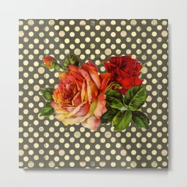 victorian red roses and polka dots Metal Print
