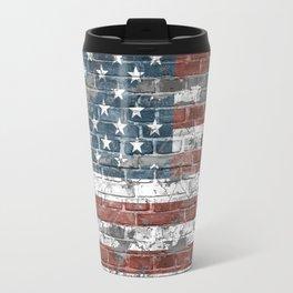 american flag on the brick Travel Mug