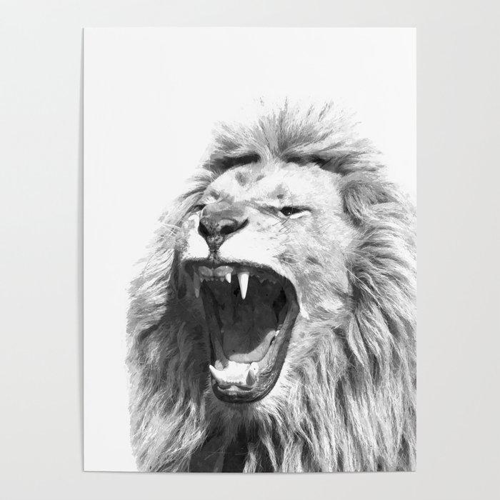 Black White Fierce Lion Poster