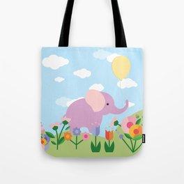 Purple Elephant and Balloons, nursery decor , Tote Bag