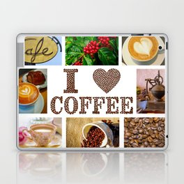 I Love Coffee Collage - Cafe or Kitchen Decor Laptop & iPad Skin