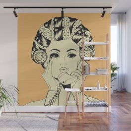 The woman with the curlers Wall Mural
