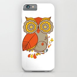 Abstract Colorful Floral Owl, Cute Owl Sticker, Terracotta Colors, Orange Yellow Gray And  Brown iPhone Case
