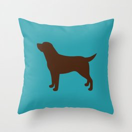 Labrador Retriever, Lab (Teal/Chocolate) Throw Pillow