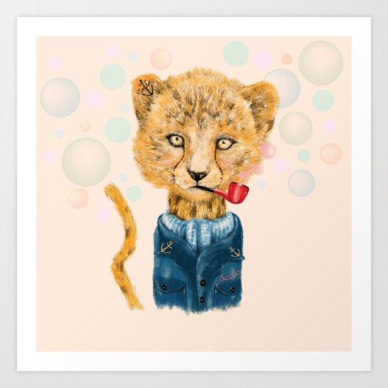 Cheetah Sailor Art Print