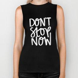 Don't Stop Now Black + White Biker Tank