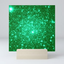 Emerald Green Glitter Stars Mini Art Print