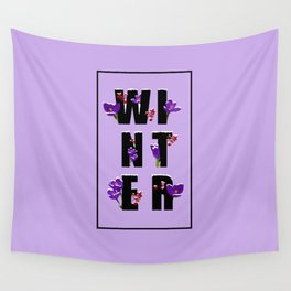 Winter word with flowers and berries VIOLET Wall Tapestry