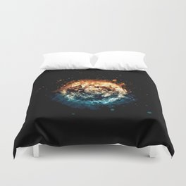 Burning Circle - Fire and Ice - Isolated Duvet Cover