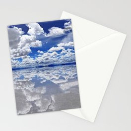 Salar de Uyuni, Bolivia Salt Flats Mirrored Lake with clouds color photography / photographs Stationery Cards