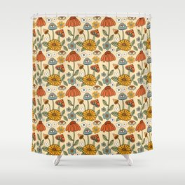 70s Psychedelic Mushrooms & Florals Shower Curtain