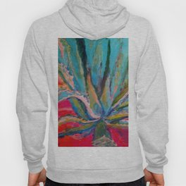 TROPICAL TURQUOISE BLUE AGAVE CACTI FUCHSIA  PATTERN Hoody