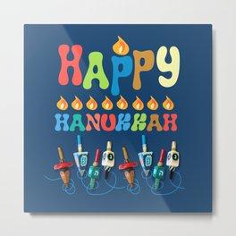 Happy Hanukkah Dreidels Metal Print