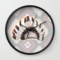 headdress Wall Clocks featuring Headdress by Ezgi Kaya