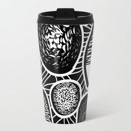 Black and white pattern - linogravure style Travel Mug