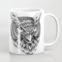 bioworkz Mugs featuring Ornate Owl Head by BIOWORKZ