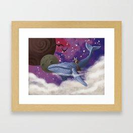 Flying Whale Framed Art Print