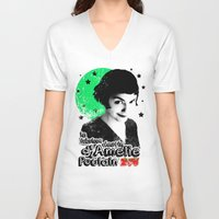 amelie V-neck T-shirts featuring Amelie Pountain by Pablo Napo