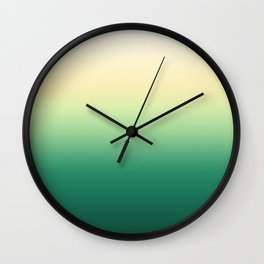 White, yellow, green, turquoise gradient, Ombre. Wall Clock
