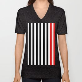 black, white and red stripes Unisex V-Neck