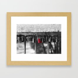 Red lock Framed Art Print
